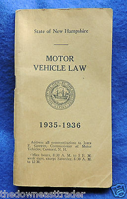 New Hampshire Motor Vehicle Law 1935-1936 Vintage Book PB 124 Pages