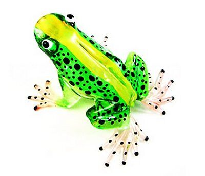 1 X Lampwork COLLECTIBLE MINIATURE HAND BLOWN Art GLASS New Frog, Green FIGURINE