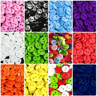 ☆ 100 x 9mm, 11mm, 15mm or 18mm Buttons ☆ Mixed, Xmas + 11 Colours Small Sewing