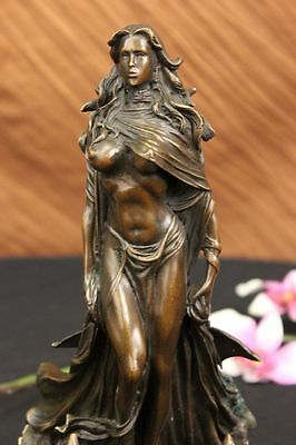 French Sexy Sorceress with Curvaceous Body Bronze Marble Statue Hot Cast Figure