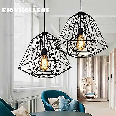 2x Black Wire Cage Industrial Ceiling Pendant Light Contemporary Modern Lamp New