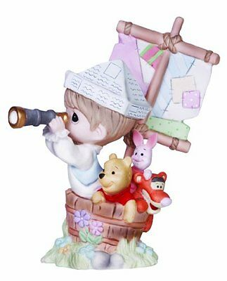 Precious Moments Disney Boy in Ship with Pooh Figurine, New, Free Shipping