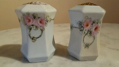 Antique C. S. Prussia Porcelain Floral Pattern Salt & Pepper Shakers