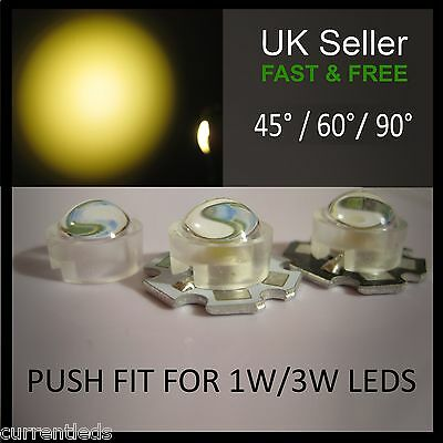 Push-fit Lenses for 1W 3W LEDs 45 and 60 degree angle Aquarium grow light lens