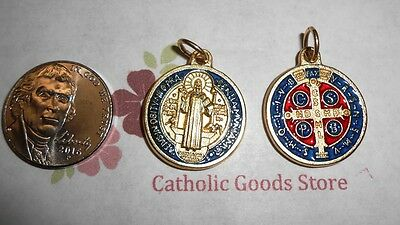 SAN BENITO Medalla / SAINT Benedict Cross-Med- Gold Tone/Enamel - Made in Italy