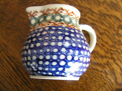 """Hand Made in Poland 3"""" Blue Green Brown Small PITCHER Polish Pottery B1 69"""