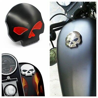 Black Skull Fuel Gas Tank Cap Cover For Harley Touring Dyna Softail Sportster