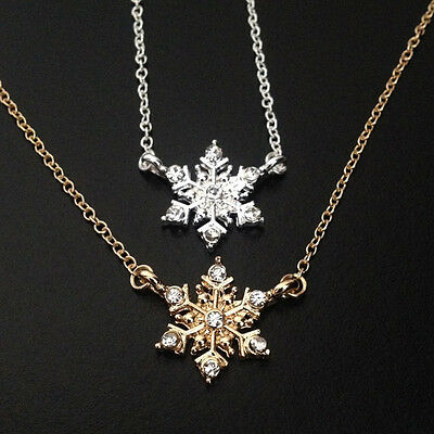 18K Gold/Silver Plated Frozen Snowflake Zirconias Fine Link Necklace Chain Gift
