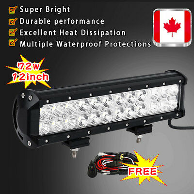 12Inch 72W Cree Led Flood Spot Combo Work Light Bar Suv Ute Atv Boat Truck 10 CA