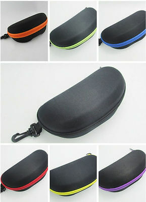 NEW Portable Zipper Eye Glasses Sunglasses Clam Shell Hard Case Protector Box
