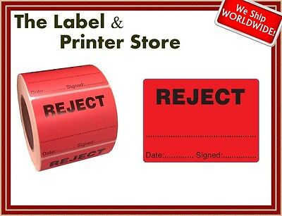 1000 Quality Inspection REJECT Labels - QC QI Checked Stickers