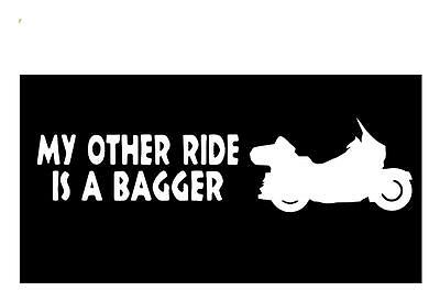 My Other Ride Is A Bagger 3X9 Motorcycle Saddlebag Seat Window Decal Sticker