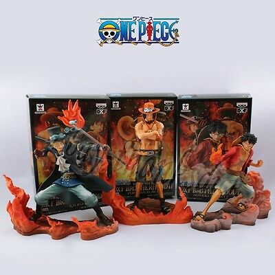 Set Of 3pcs One Piece Luffy Ace Sabo 14cm-17cm PVC Figure New In Box