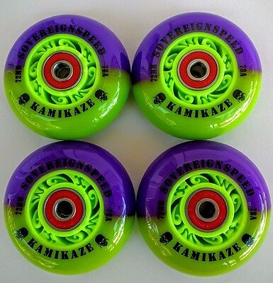 4-72mm Kamikaze Inline Wheels with Abec9 bearings-roller hockey blade sovereign8