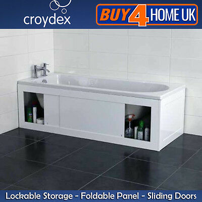Croydex Front/End Unfold 'N' Fit White Bath Panels - Key Lockable Side Storage