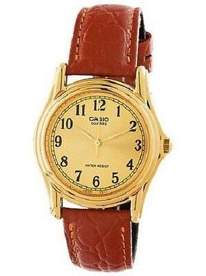 Casio MTP1095Q-9B1 Mens Brown Leather Casual Watch Gold Dial Quartz Numbers NEW