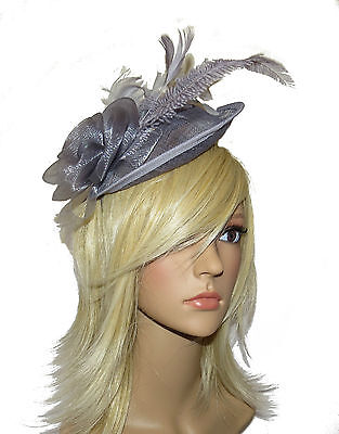 Beautiful Large Silver Grey Hair Fascinator Headband - Ladies Day Races Wedding