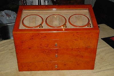 Watch Display Case Large Holds 24 Watches, 3 Rotating, Jewelry Box Electric