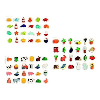Janod 24 pcs Farm, Garden or Ocean Theme Fridge Magnets 18m+
