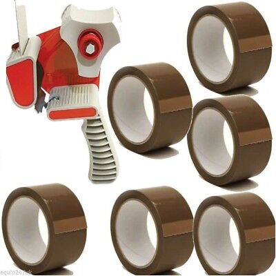 Tape Gun Dispenser+8 Rolls Brown Buff Tape 48mm x 66m Parcel Packing Box Sealing