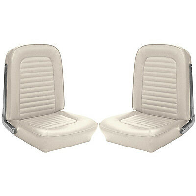 1964 1965 Mustang Premium Upholstery Convertible Front Buckets Rear White TMI