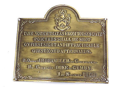 Brass Plaque,Sign,Vintage New Old Stock Poachers,Game Keeper Humorous Quote