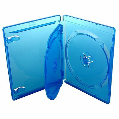 Pack 6 ESTUCHES / CAJAS TRIPLES - 3 BLURAY - 14 mm - AZUL TRANSPARENTE