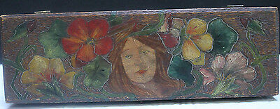 Arts / Crafts Carved, Painted Wood Box In The Manner Of Lucia Mathews