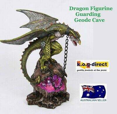 Gothic Green Dragon Figurine Guarding Light Up Geode Throne 21Cm -Dragthlg A