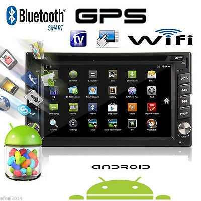 Android 4.4 Double 2 Din Car Stereo GPS DVD Player 6.2 Bluetooth Radio 3G WiFi