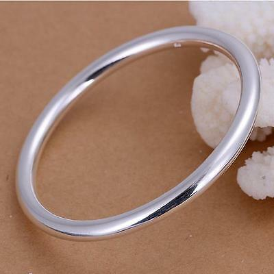 925 Sterling Silver Charm Smooth Round Cuff Bracelets New Fashion Jewelry
