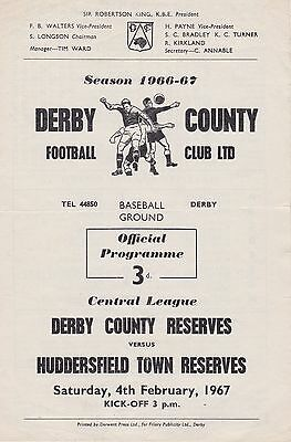 DERBY COUNTY v HUDDERSFIELD TOWN RESERVES ~ 4 FEBRUARY 1967