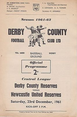 DERBY COUNTY v NEWCASTLE UNITED RESERVES ~ 23 DECEMBER 1961