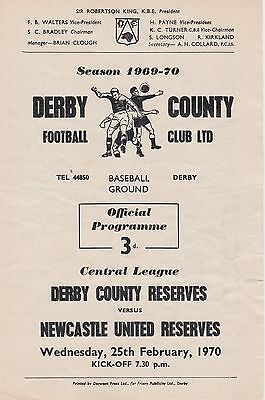 DERBY COUNTY v NEWCASTLE UNITED RESERVES ~ 25 FEBRUARY 1970