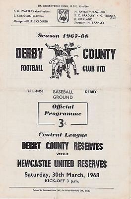 DERBY COUNTY v NEWCASTLE UNITED RESERVES ~ 30 MARCH 1968