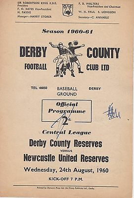 DERBY COUNTY v NEWCASTLE UNITED RESERVES ~ 24 AUGUST 1960