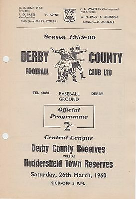 DERBY COUNTY v HUDDERSFIELD TOWN RESERVES ~ 26 MARCH 1960