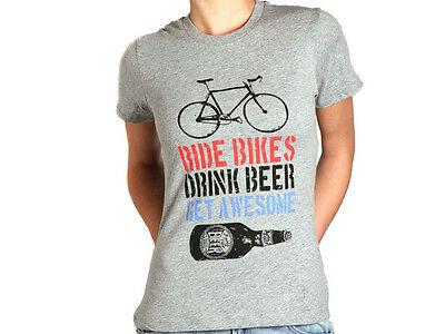 Apres Velo Get Awesome Womens T Shirt - Grey Marle