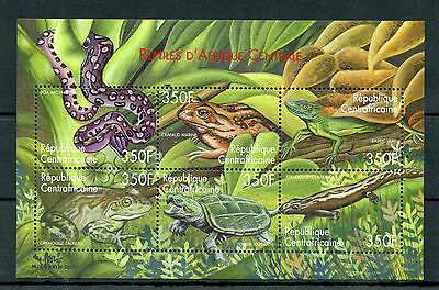 Central African Republic 2001 MNH Reptiles 6v M/S II Snakes Frogs Lizards