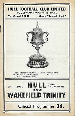 1959 - Hull v Wakefield Trinity, Challenge Cup 2nd Round Match Programme.