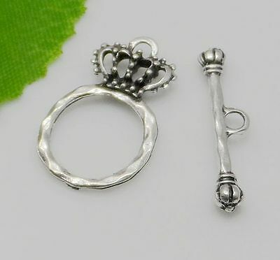 Free 100sets Tibetan Silver Connector Crown Toggle Clasps Hooks For Bracelet