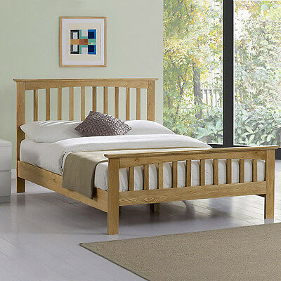 Solid Oak Bed Frame Wooden Double King Size 100% Real Genuine Shaker Style