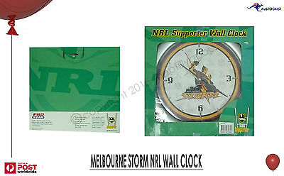"NRL MELBOURNE STORM Wall Clock Licensed 28cm 11"" RUGBY League BNIB #59761"