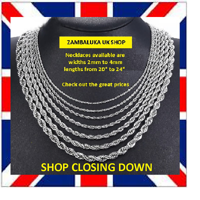 "18""-24"" Men's Silver Tone Stainless Steel 316L Necklace Rope Twist Chain Link 4"