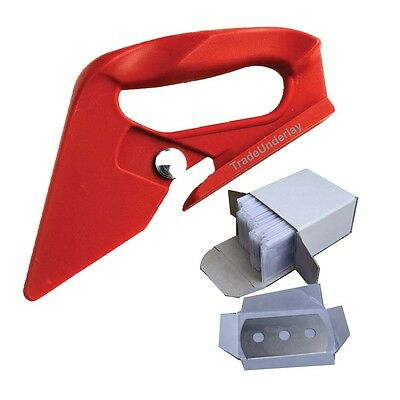 Red loop carpet trimmer cutter carpet fitting tool and 100 x spare trimmers