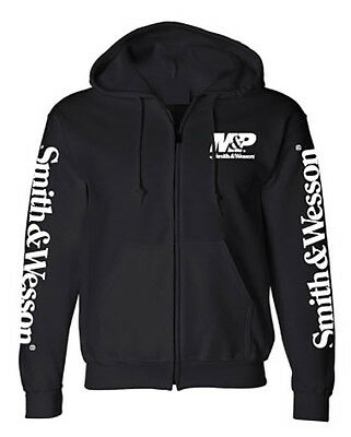 M&P by SMITH & WESSON *BLACK* Trademark Logo *ZIP UP* HOODED SWEATSHIRT *NEW!*