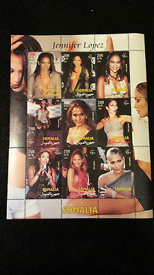 Minipliego Hoja Bloque Jennifer Lopez Music Star Somalia 2002 MNH Sello sheetlet