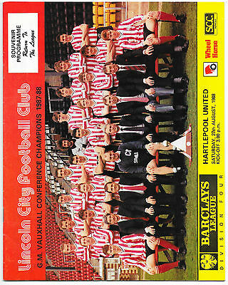 Lincoln City (1st Game Back in League) v Hartlepool, 1988/89 - Div. 4 Programme.