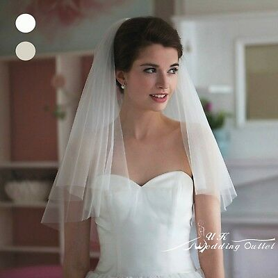 Bridal wedding 2 tiers soft plain veil with comb white/ivory choice