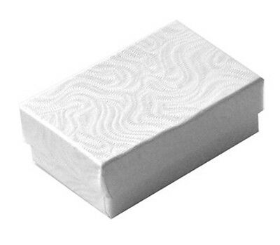 "100 Small White Swirl Cotton Filled Jewelry Gift Boxes  1 7/8"" x 1 1/4"" x 5/8"""